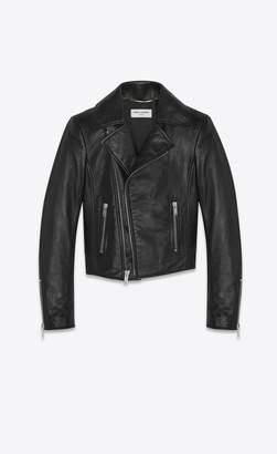 Saint Laurent Short Black Leather Biker Jacket