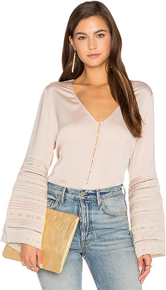 AUGUSTE Luxe Bell Sleeve Top in Beige $175 thestylecure.com