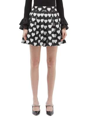 Alice + Olivia 'Fizer' heart jacquard sequin pleated tweed skirt