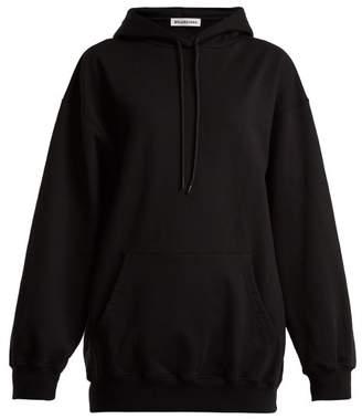 Balenciaga Logo Print Cotton Hooded Sweatshirt - Womens - Black