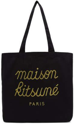 MAISON KITSUNÉ SSENSE Exclusive Black Logo Tote