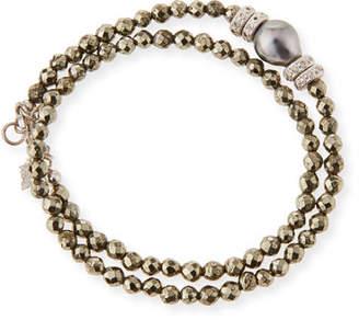 Armenta New World Tahitian Pearl & Diamond Wrap Bracelet