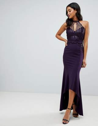 Lipsy scallop front sequin maxi dress with asymmetric hem in purple