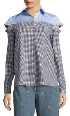 Cutout Gingham Shirt