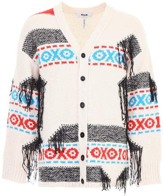 MSGM Fringed Cardigan