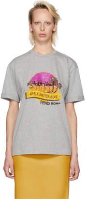 Fendi Grey Sequinned Appia Antica Blvd T-Shirt
