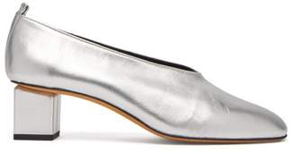 Gray Matters - Mildred Block Heel Metallic Leather Pumps - Womens - Silver