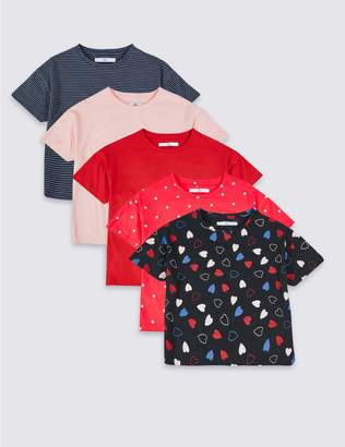 Marks and Spencer 5 Pack T-Shirts (3-16 Years)