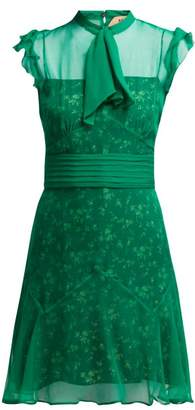 No.21 No. 21 - Floral Print Pussybow Silk Dress - Womens - Green