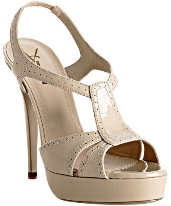 Yves Saint Laurent bone perforated patent t-strap platform sandals