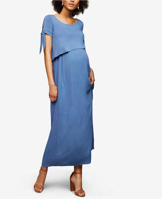 A Pea in the Pod Maternity Tiered Nursing Maxi Dress