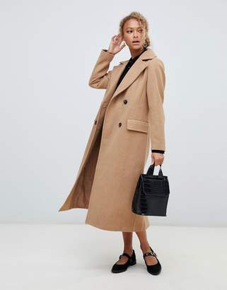 New Look tailored maxi coat in camel