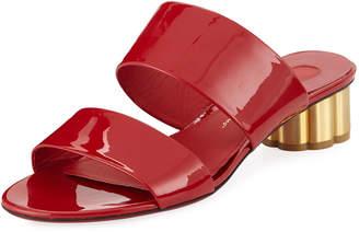Salvatore Ferragamo Belluno Two-Band Patent Slide Sandals with Flower Heel