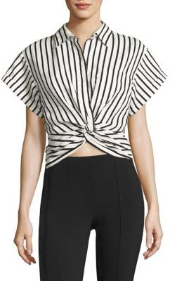 Alexander Wang T by Alexander Wang T by Twisted Front Striped Shirt