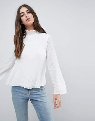 Vila High Neck Lace Woven Top