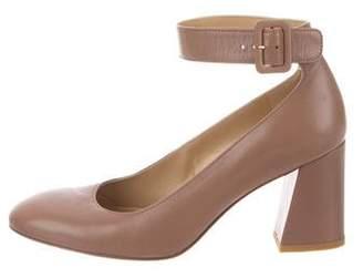 Stuart Weitzman Leather Ankle Strap Pumps