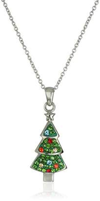 Silver Plated Christmas Tree Crystal Pendant Necklace
