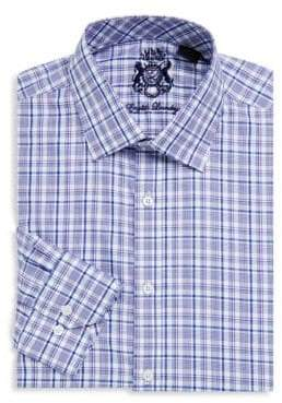 English Laundry Plaid-Print Cotton Dress Shirt