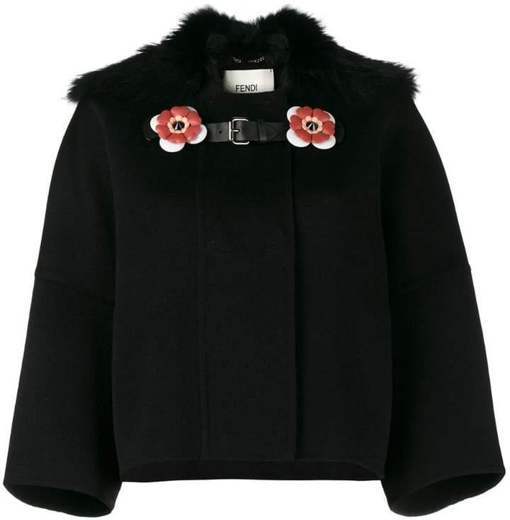 Fendi Fox collar cropped coat
