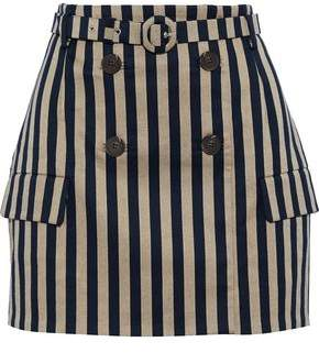 Jonathan Simkhai Button-embellished Striped Cotton-blend Mini Skirt