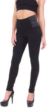 Hollywood Star Fashion High Waisted Black Thick Leggings Dress Pants Jeggings with Elastic Design on the Sides (S, )
