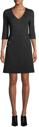 Trina Turk Valentina V-Neck Dress w/ Button Details