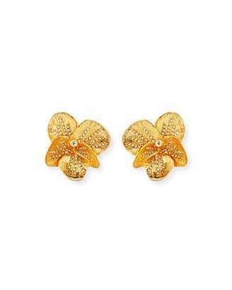 Oscar de la Renta Brushed Swarovski Crystal Clip-On Earrings