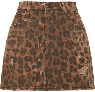 R 13 Distressed Leopard-print Denim Mini Skirt - Leopard print
