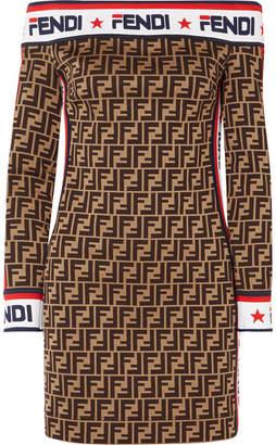 Fendi Off-the-shoulder Printed Cotton-blend Mini Dress - Brown