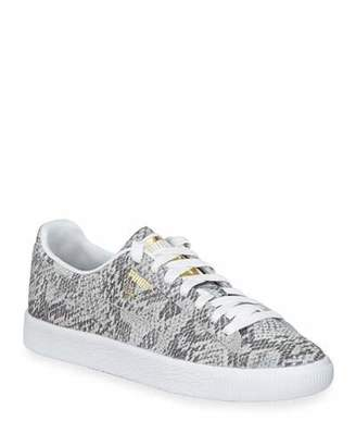883a706b90f1 Puma Clyde Snake-Print Leather Lace-Up Sneakers