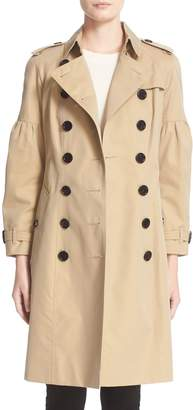 Burberry Redhill Puff Sleeve Cotton Trench