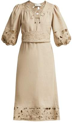 Zimmermann Juno Belted Guipure Lace Linen Dress - Womens - Beige