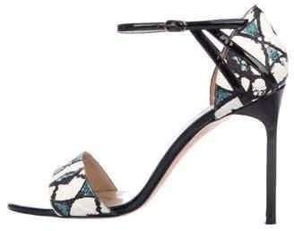 Manolo Blahnik Snakeskin Ankle-Strap Sandals