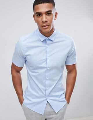 Asos Design DESIGN stretch slim formal work shirt with shirt sleeves in blue