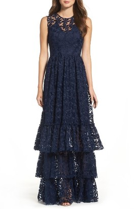 Women's Shoshanna Fowler Tiered Lace Gown $570 thestylecure.com