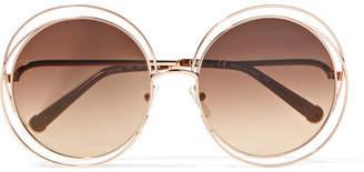 Chloé Carlina Round-frame Rose Gold-tone Sunglasses