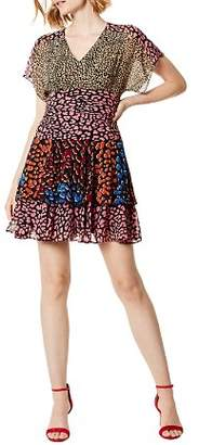 Karen Millen Mixed Leopard-Print Mini Dress