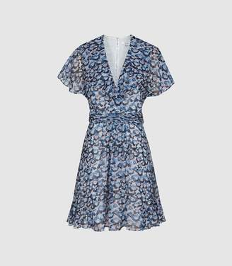 Reiss Amy - Floral Printed Day Dress in Blue