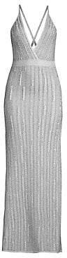 Herve Leger Women's Deep V-Neck Lurex Gown