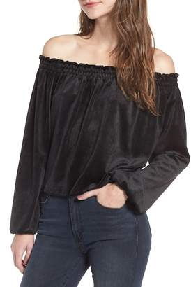De Lacy DELACY Off the Shoulder Velvet Top