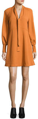 See by Chloe Tie-Neck Long-Sleeves A-Line Dress