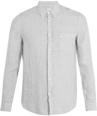 120% Lino Patch Pocket Striped Linen Shirt - Mens - Cream Multi