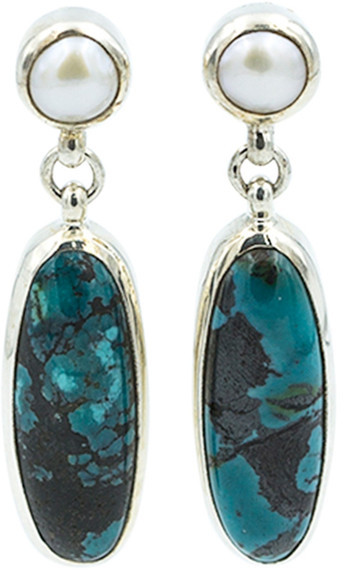Exex Design Jewelry Sterling Silver Miami 6mm Natural Pearl & Turquoise Earrings