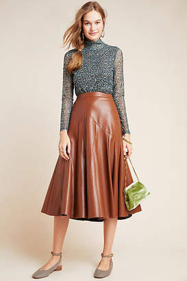 Maeve Mariska Faux Leather Midi Skirt