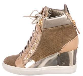 Giuseppe Zanotti Leather & Canvas Sneaker Wedges