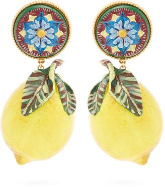 Dolce & Gabbana Floral and large lemon-drop clip on earrings