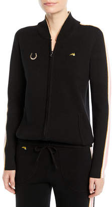 Bella Freud Race Track Zip-Up Track Jacket with Side Stripes