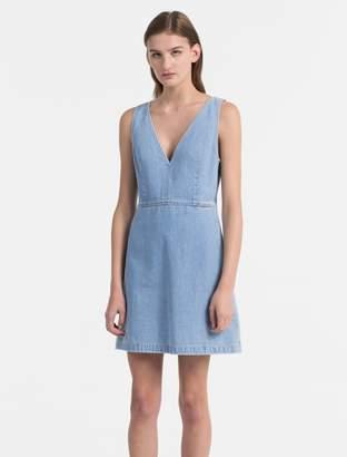 Calvin Klein fitted v-neck denim dress