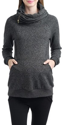 Women's Kimi And Kai 'Thea' Zip Collar Maternity Sweatshirt $78 thestylecure.com