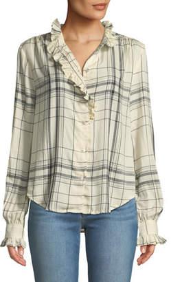 Frame Ruffled Button-Front Long-Sleeve Plaid Shirt